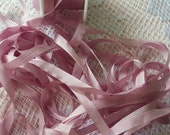 Pure Silk Ribbon 7 mm 1/4 inch wide 10 yd Spool  Antique/Rose Color