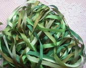 Pure Silk Ribbon 7mm 1/4 inch wide 27 yd  Green Assortment 9 colors