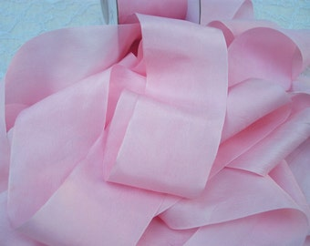 Pure Silk Woven  Ribbon 2 inches wide Pale Pink 3 yds Very Limited Quantity