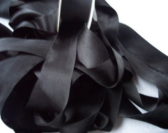 PURE SILK SATIN  Ribbon Black Color 1 1/2 inch wide 3 yards