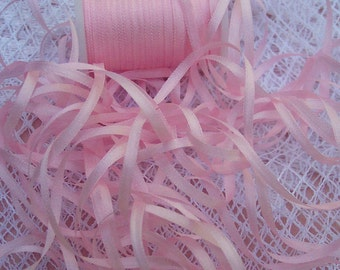 2mm Embroidery Pure Silk Ribbon Pale/Pink 25 yard Spool