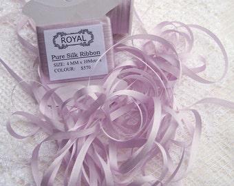 Pure Silk Ribbon 4mm  Platinum Wisteria Color  10yd Card