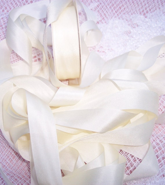 Pure Silk Ribbon Ivory Color 19mm 3/4 inch wide 30 yard Spool