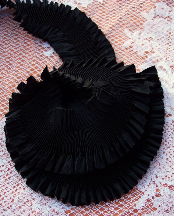 Pure Silk  Ruched Plisse  Ribbon 2 inches wide Black Color