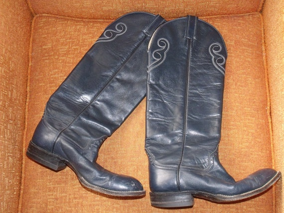 Reserved for Bella - SALE - Vintage 1970's Super Tall Hondo Cowgirl Western Boots, Knee-high Women's 7.5 C, Peacock Blue Leather