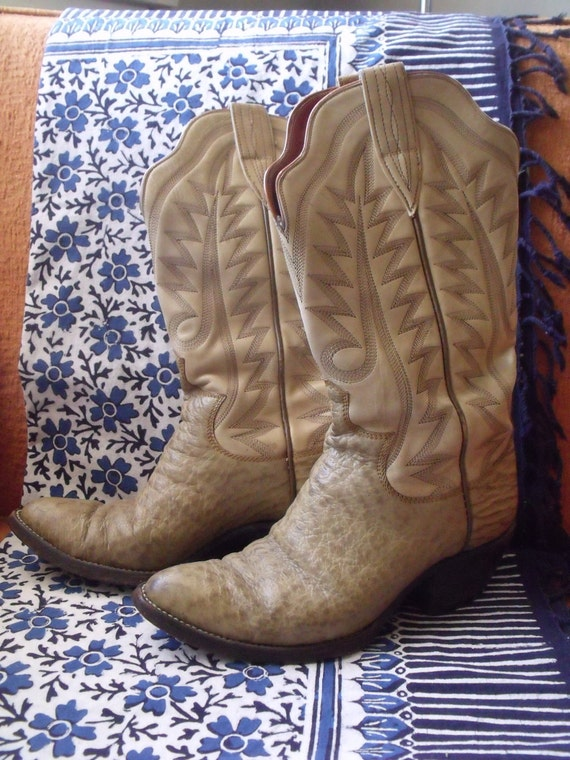 "50% OFF SALE - Amazing Vintage 1970's Custom Made Cowgirl, Western Boots, Women's 7.5, 8, Tan Leather, 2"" Stacked Heels"