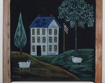 Original Screen Painting Country Home Scene, Acrylic Painting, Hand Painted, 19 High x 17 Wide, One Of A Kind Painting,