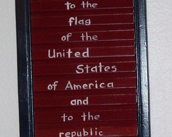 Pledge Of Allegiance Plaque, Hand Painted, Old Shutter Plaque, Patriotic, Red White & Blue, Wood Wall Decor, Americana Decor, Flag Sign