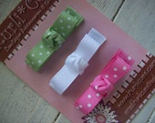 Itty Bitty Boutique Tuxedo Hair Clippies - Set of 3 - WHITE/PINK/GREEN Swiss Dots