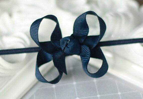 Itty Bitty Baby Bow Headband- NAVY BLUE Hair Bow on Skinny Elastic Headband - Fits Newborn through Adult - 40 Colors Available