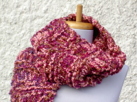 Plum Blossom Pink Hand Knit Scarf