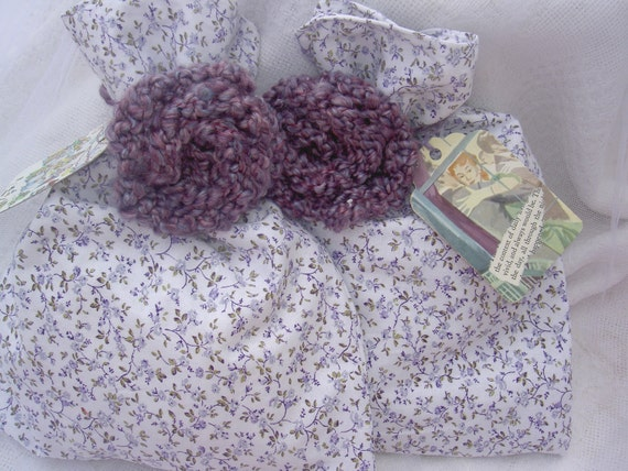 Violet Calico Reusable Fabric Gift Bags with Flower Embellishments and Hang Tags