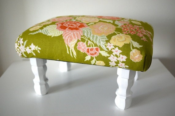 Macao Green Floral Footstool Ottoman