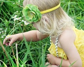 Beautiful Lime and Yellow Flower headband with rhinestone center.  Perfect photo prop with my rompers, more colors available