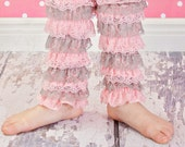 Clearance Special Sale Baby Lace leg Warmers...Pink & grey lace..more colors available 3-10years