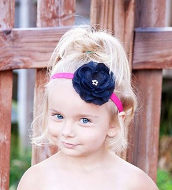 Hot pink headband with Beautiful black layered flower w/ rhinestone center.  Perfect photo prop with my rompers, more colors available