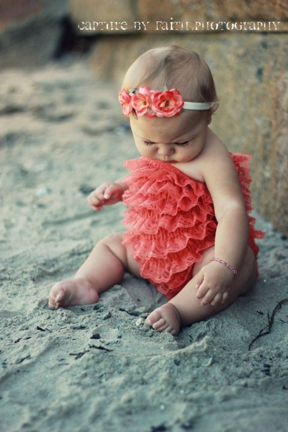 Etsy SPECIAL sale. Orange Bubble lace petti romper / ruffles bloomer..3 sizes available newborn to 3t/4t. Great photo prop. you pick size