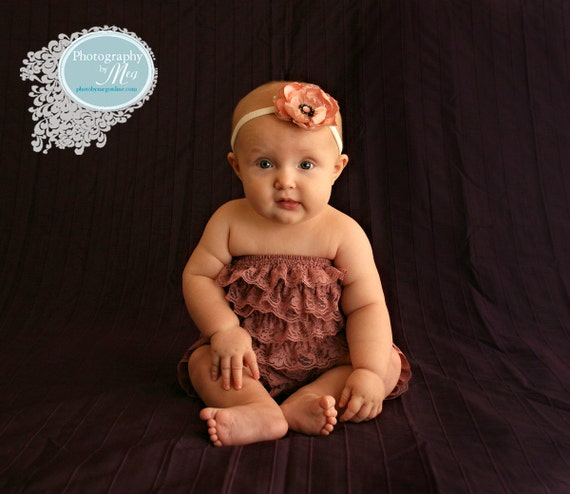 SPECIAL sale. Dusty Rose Bubble lace petti romper / ruffles bloomer..3 sizes available newborn to 3t/4t. Great photo prop. you pick size.