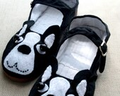Boston Terrier Mary Jane Flats Shoes-Size 6