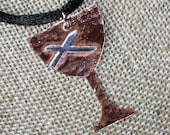 Hammered Copper Chalice Pendant with Sterling St. Andrew's Cross (Disciples of Christ) for Week of Compassion by Resurrection Silver