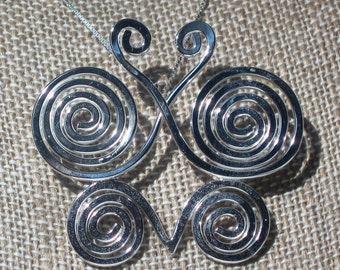 Sterling Spiral Butterfly Pendant by Resurrection Silver