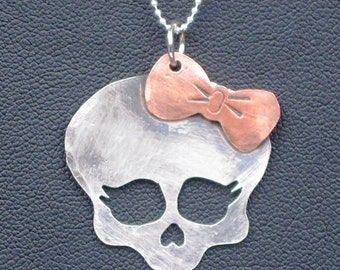 Sterling Silver Skull Girl Pendant with Copper Bow
