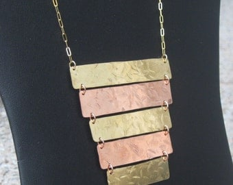 Copper and Brass Ladder Necklace