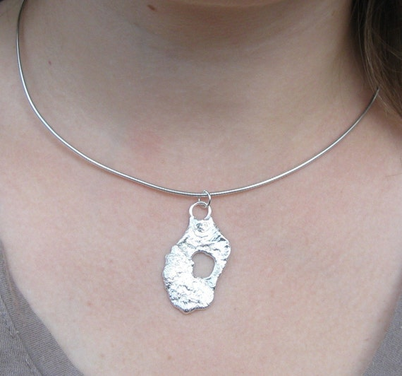 Molten Magic No 2 - Recycled Sterling Silver Spoon Pendant