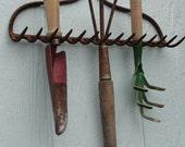 Vintage Rustic Garden Hand Tools Organizer