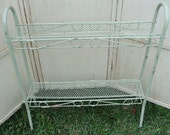 Vintage Metal Table Stand Beach Mist Green Dotty Shelves Studio Garden
