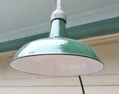Reserved for Rebecca         2   Vintage Industrial Pendant Lamp Light Factory Green Porcelain Metal Wired