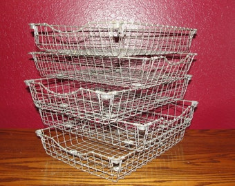 Vintage File Basket Office In Out Mail Twisted Wire Desk Organizer Acme