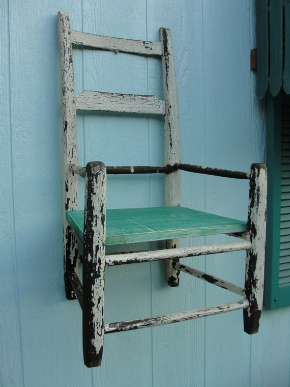 Rustic Chair Shabby Chic Shelf Primitive Farmhouse