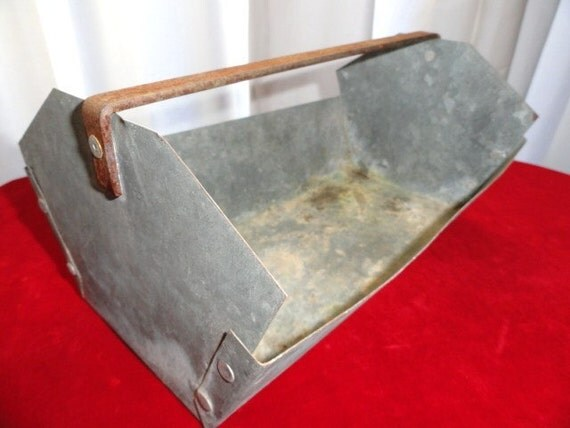 Vintage Industrial Galvanized Tote Planter Organizer Rustic Metal