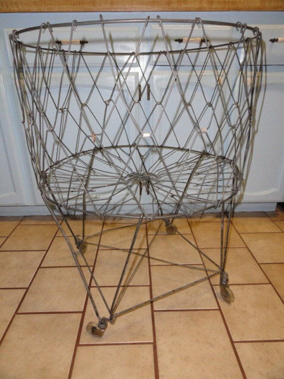 Vintage Metal Laundry Cart Basket Wheels Folding Rolling
