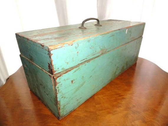 Vintage Wooden Box Rustic Green Box Lift Out 7 Section Tray