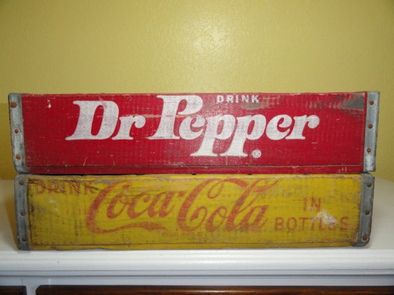 Reserved for Kelli        Vintage Coke Dr Pepper Soda Box Crate Case Coca Cola