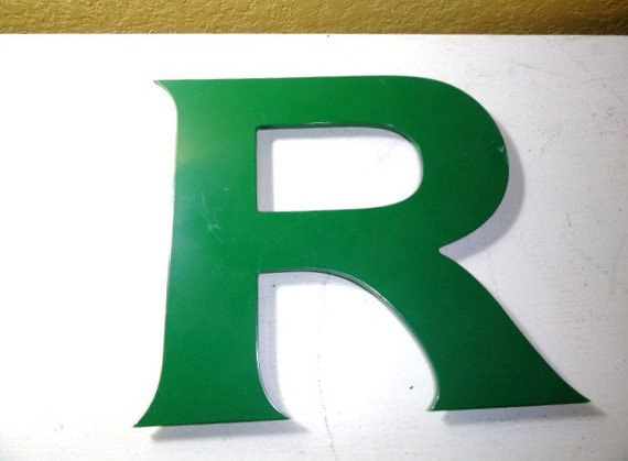 Vintage Letter R Industrial Initials Green Name Wall Decor 10 inches