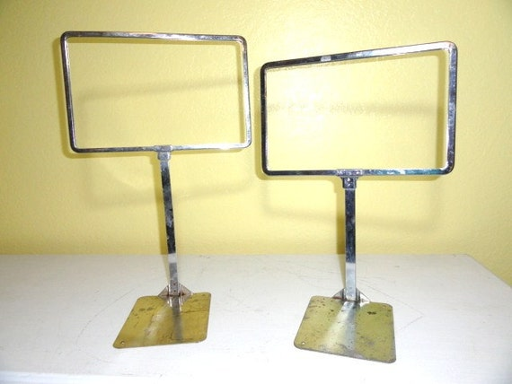Vintage Price Sign Stand Industrial Chrome General Store Pricing Holder