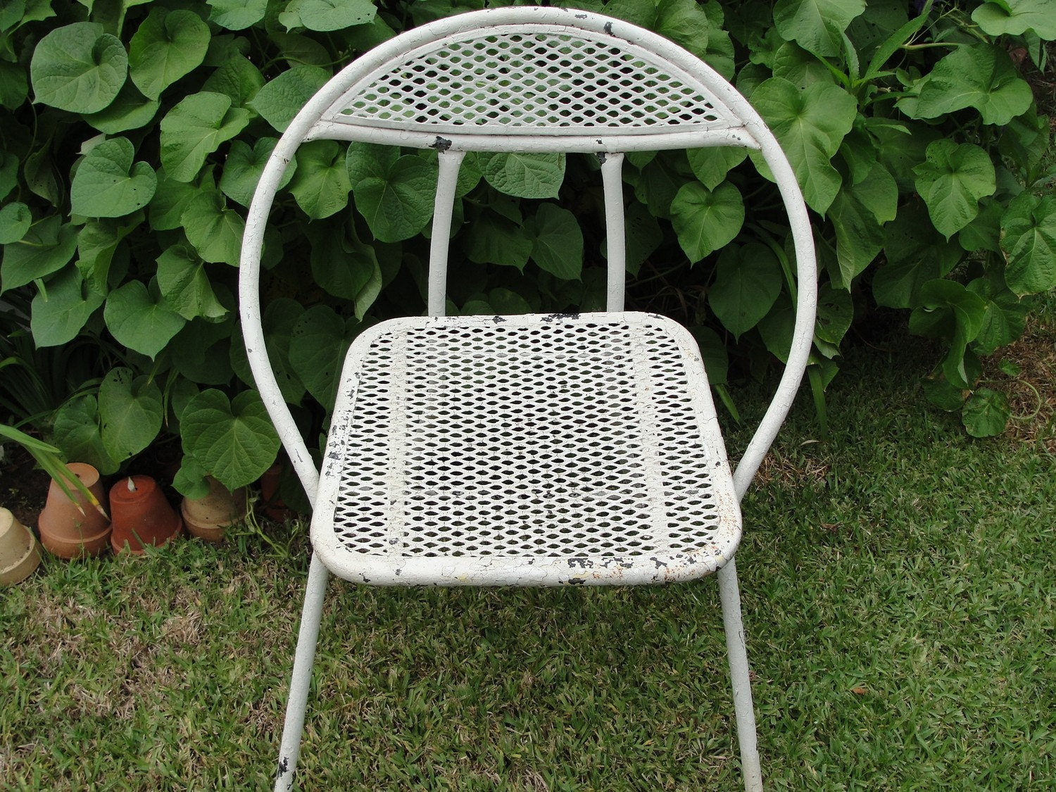Vintage Metal Folding Chair Garden Cottage Chic