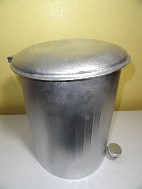 Vintage Industrial Galvanized Trash Can Metal Garbage Step