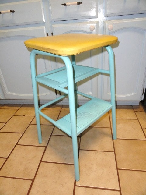 Vintage Utility Step Stool Aqua Beach Yellow Metal Retro