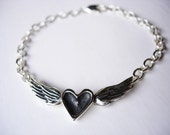 Black Heart With Wings Bracelet - Sterling Silver - Handmade