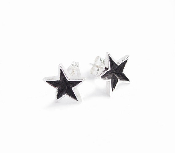 SALE Silver and Black Star Stud Earrings - Sterling Handmade Polished Five Pointed Shooting Star Burst Dark Patina Nautical Studs