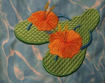 Summer Hibiscus Flip Flop Eco Friendly Tote, Purse, bag