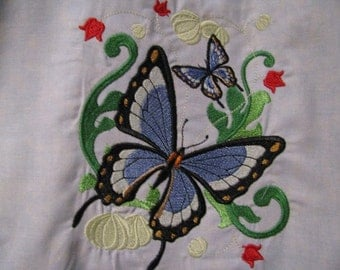 Victorian Flutterby Butterfly Blue and Green Eco Friendly Tote, Bag, Shopping Bag, Purse