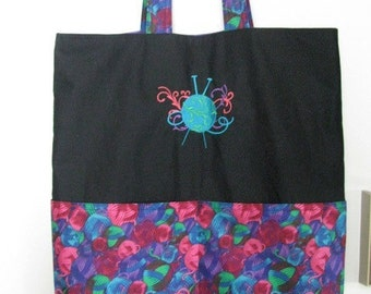 Knitting Needles Tote or Eco Friendly Purse