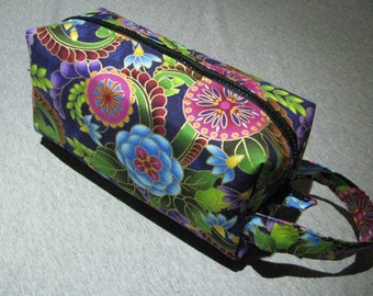 Golden Jacobean Floral Pencil Bag Craft Bag Cosmetic Bag Makeup Bag Shaving Kit LARGE