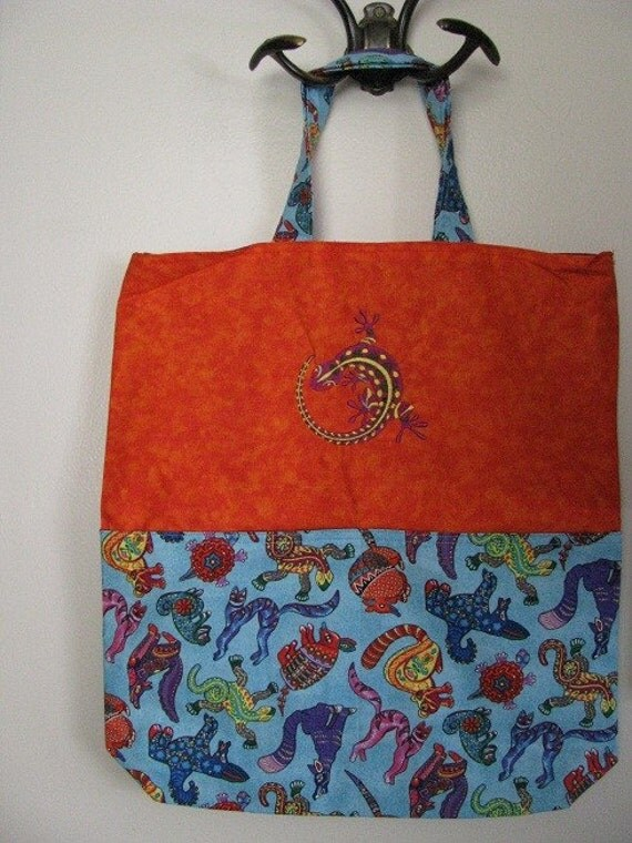 Orange and Blue Themed Oaxaca Mexican Carved Animal Reversable Eco Friendly Tote Bag