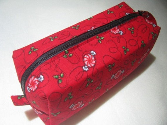 Christmas Peppermint Candy Surprise Embroidery Inside Cosmetic Bag Makeup Bag LARGE
